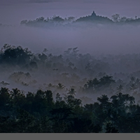 A Closer Look Of Borobudur Temple From Setumbu Hill