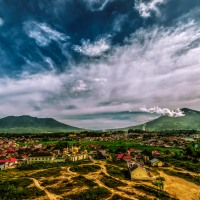 Mount Merapi And Mount Singgalang Viewed From Bukittinggi