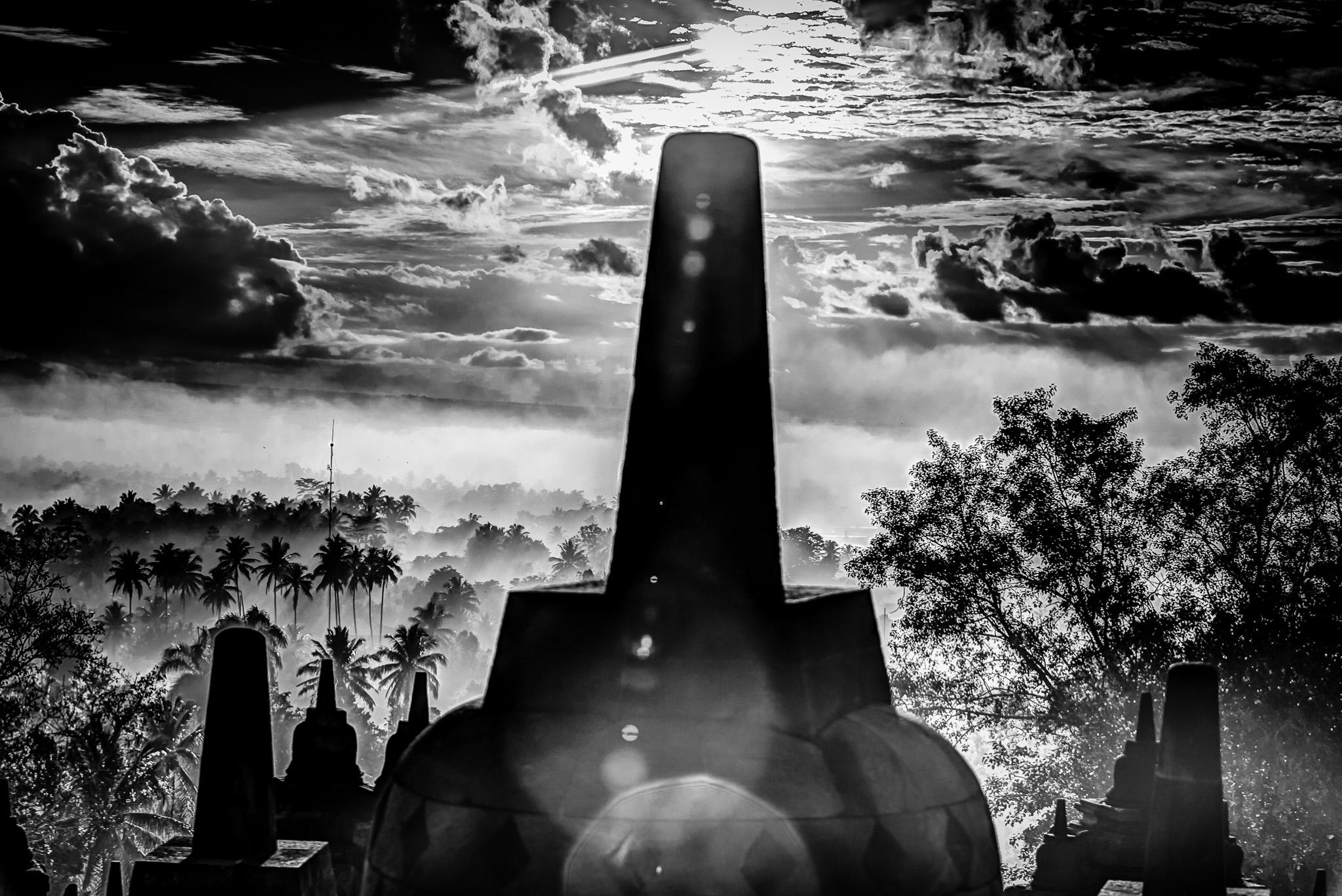 Borobudur Stupa B/W